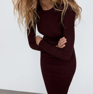 Zara Ribbed Knit Plum Bodycon Dress Burgundy